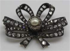 JEWELRY Antique Diamond and Pearl Bow Form Brooch