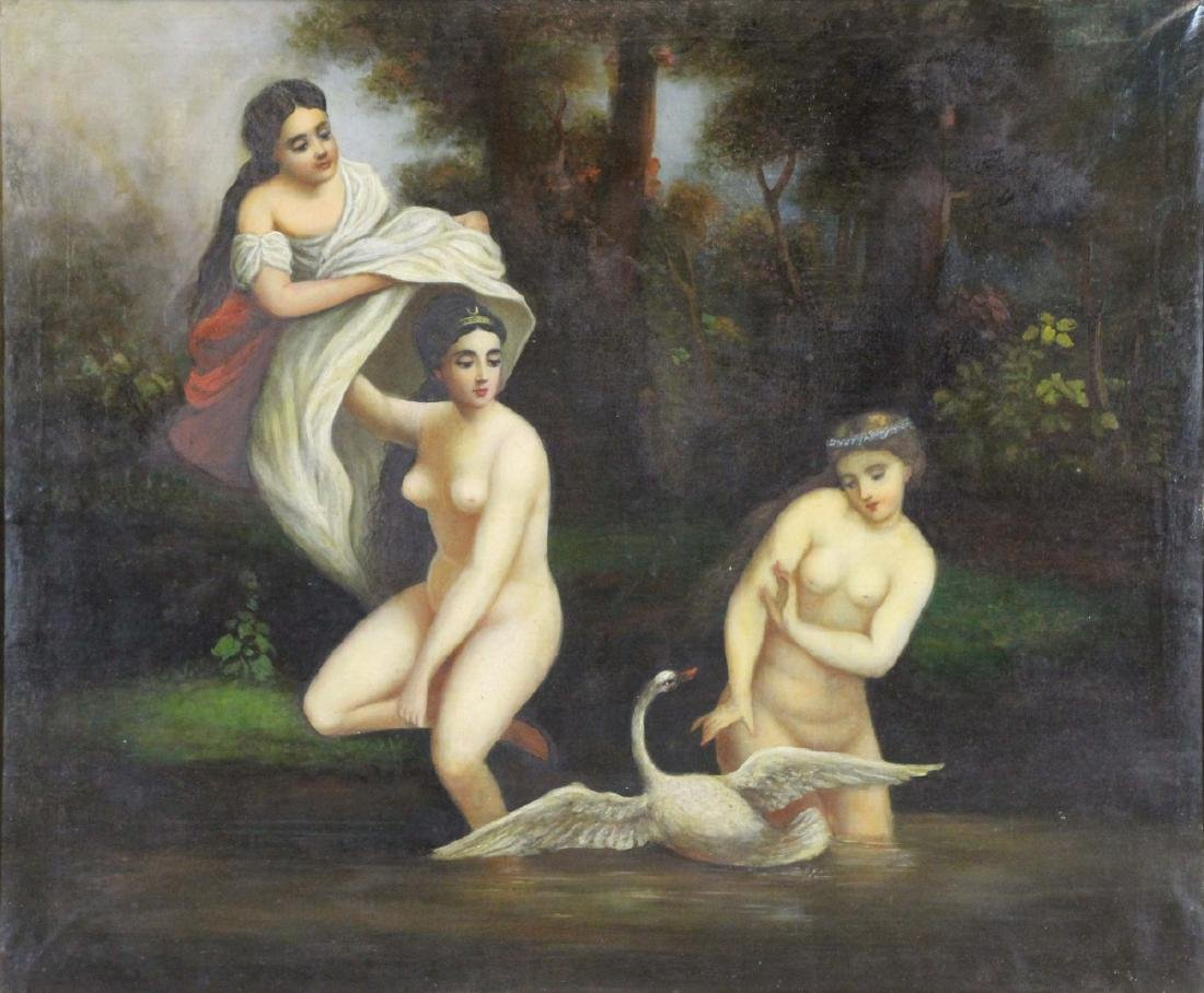 19th CENTURY. Oil on Canvas. Leda and the Swan.