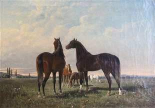 VON MALY, August. Oil on Canvas. Horses.