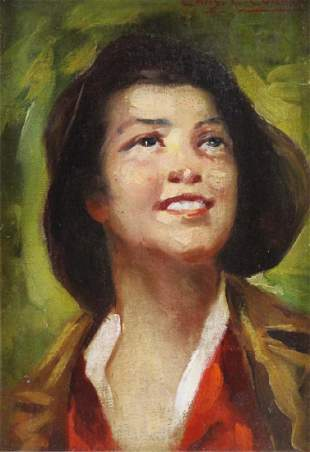 CURRAN, Charles C. Oil on Board. Portrait of a