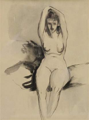 HENRI, Robert. Ink and Wash. Nude.