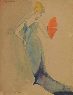 SPRINCHORN, Carl. Watercolor. Lady with a Fan.