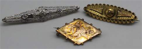 JEWELRY. Antique Gold Bar Pin Grouping.