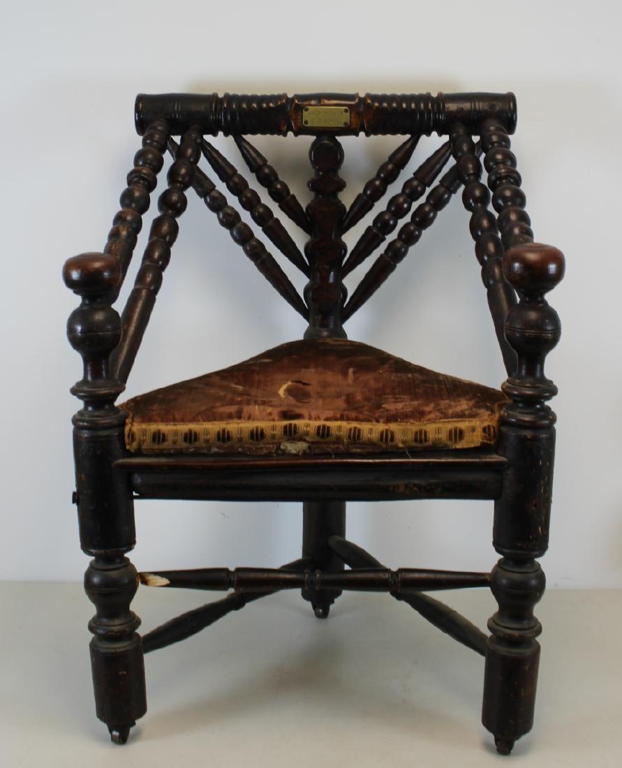 "Antique Corner Chair with Gilt Metal Label ""Old Parr"""