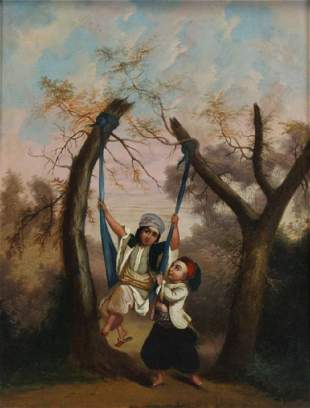 INDO-PERSIAN School. Oil on Board. Two Children.