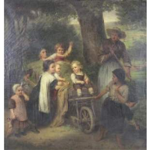 LASCH, Carl. Oil on Canvas. Children in a Wagon.
