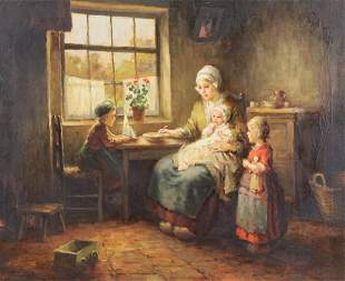 GRUST, F.G. Oil on Canvas. Woman and Children.
