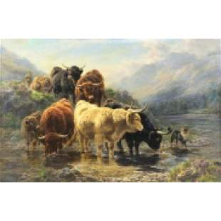 WATSON, William. Oil on Canvas. Highland Cattle.