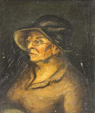 SLOAN, John (Attr). Oil on Canvas. An Old Woman