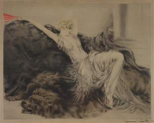 "ICART, Louis. Etching. ""Paresse""."