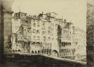 "ARMS, John Taylor. Etching. ""Ponte Vecchio""."