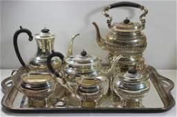 SILVER. 6 Pc. English Silver Tea Service.