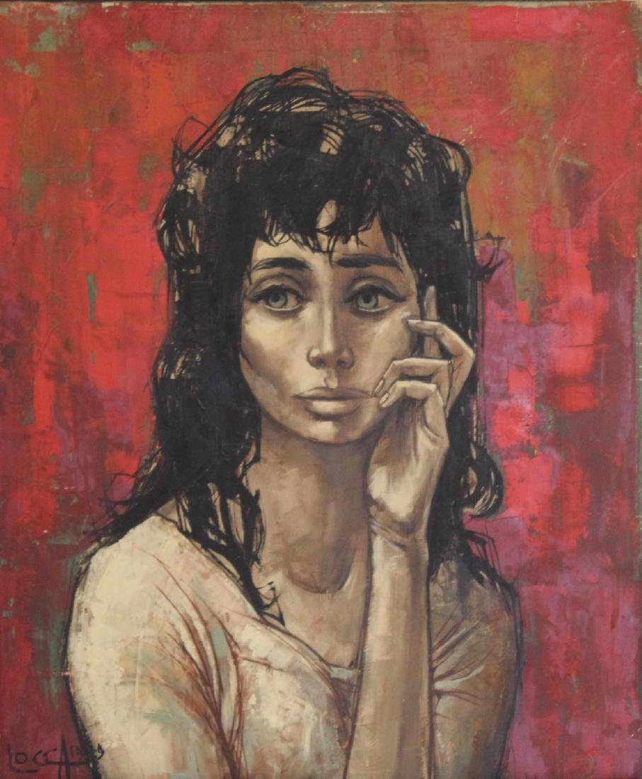 LOCCA. Oil on Canvas of Melancholy Lady.