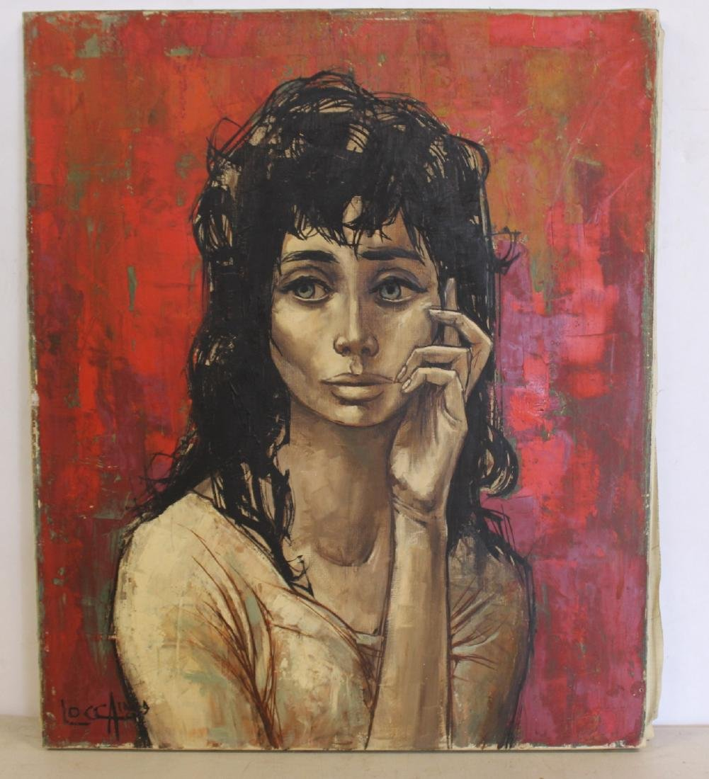 LOCCA. Oil on Canvas of Melancholy Lady. - 2