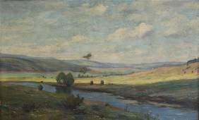 HANS HAULWURF Oil on Canvas River Landscape