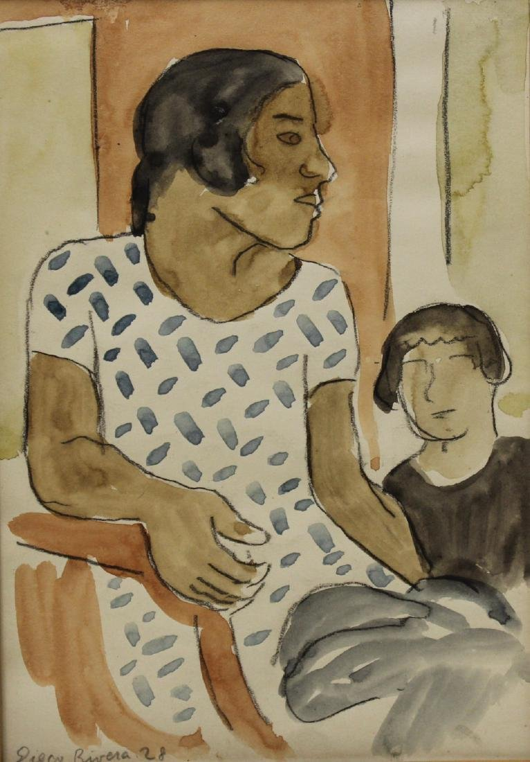 Diego Rivera. Signed And Dated Watercolor