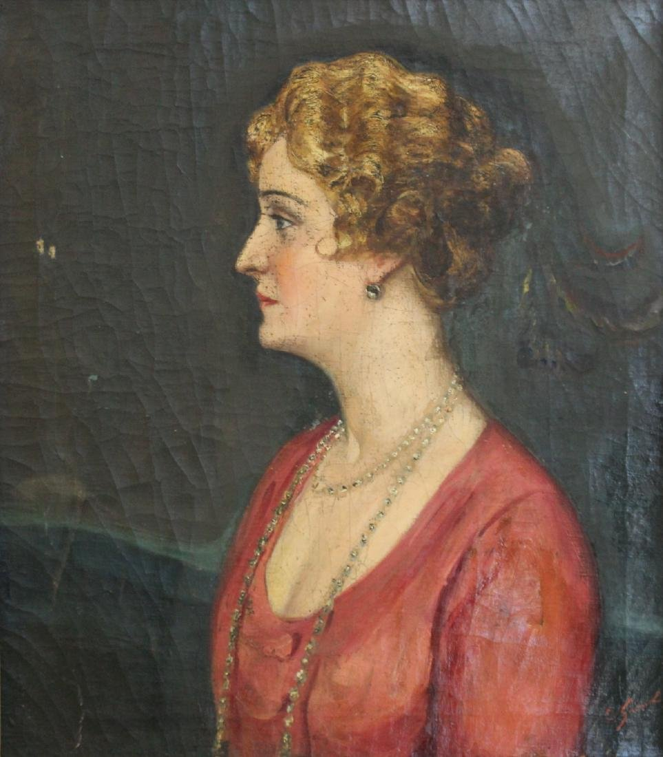 SUDNIK ? Signed Oil On Canvas Of A Lady.