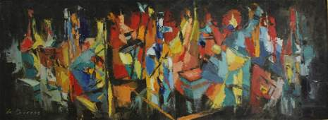 De Burros. Signed Oil On Board Abstract