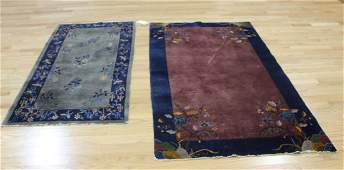 2 Art Deco Chinese Hand Woven Carpets.