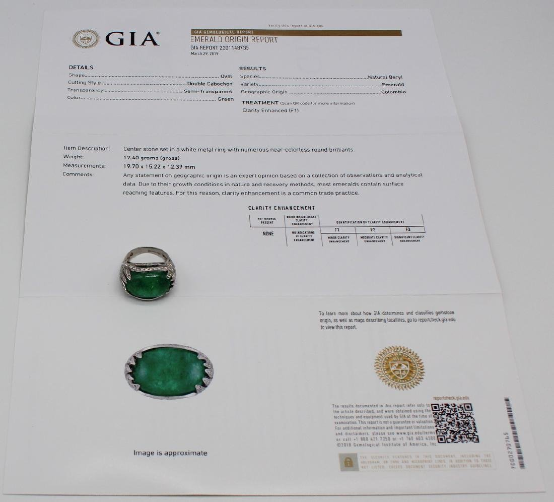 JEWELRY. GIA Colombian 28.07ct Emerald Cabochon
