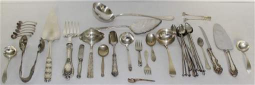 SILVER. Assorted Silver Flatware and Serving Pcs.