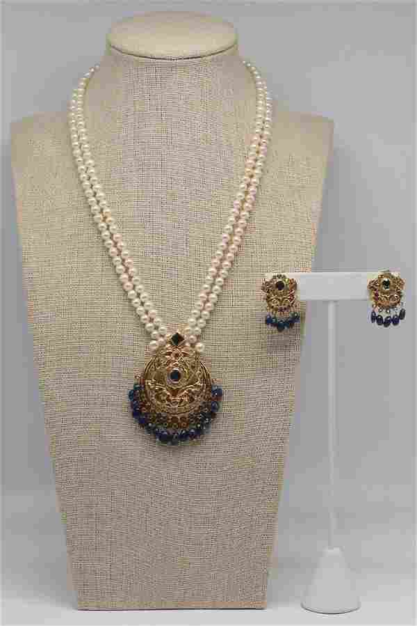 JEWELRY. Indian 21kt Gold, Sapphire, and Polki