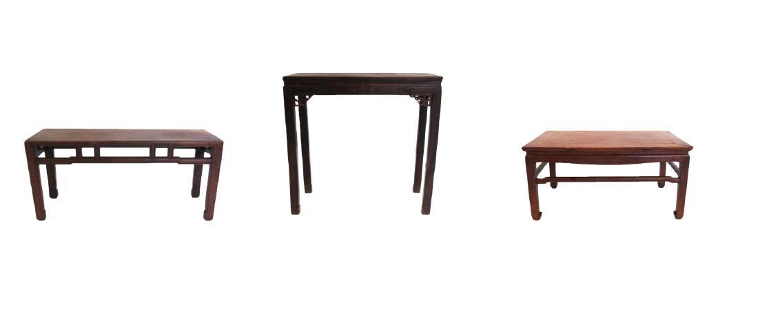 Group of 3 Custom Made Hongmu Tables.