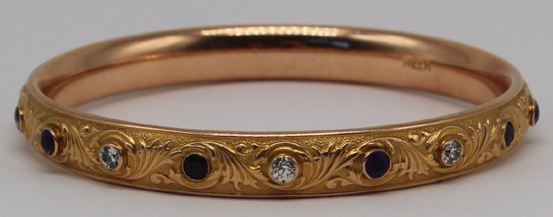 JEWELRY. 14kt Gold, Diamond, and Amethyst Bracelet