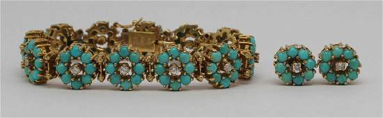 JEWELRY. 18kt Gold, Turquoise and Diamond Suite.