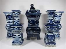 Blue and White Porcelain Altar Set.