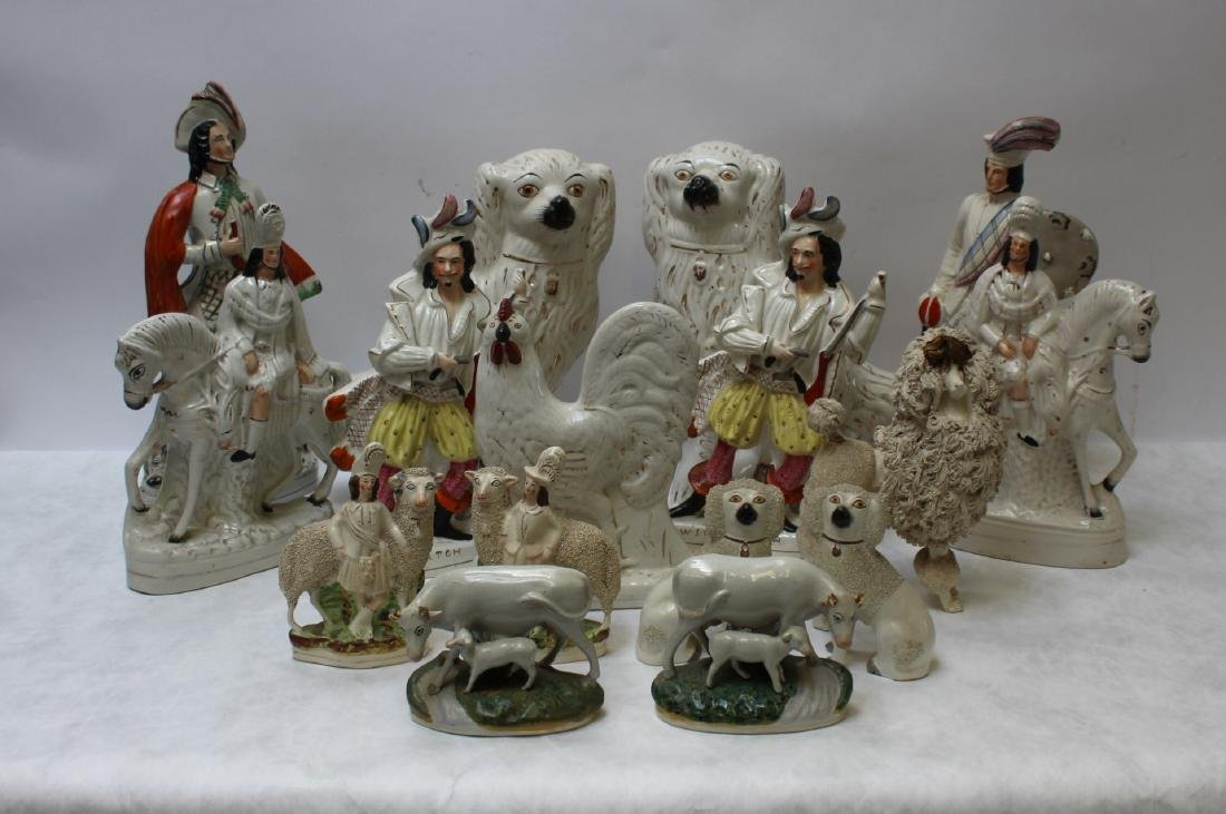 Large Staffordshire Grouping of Figurines