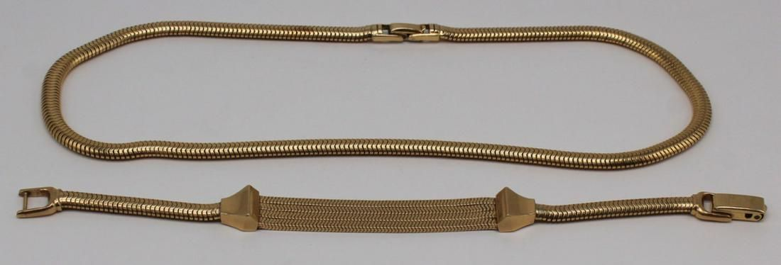 JEWELRY. Retro 14kt Gold Snake Chain Suite.