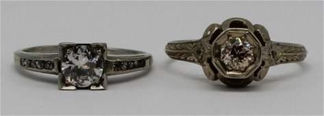 JEWELRY. Antique/Vintage Diamond Ring Grouping.