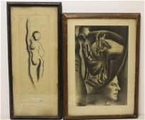 TOBIAS, Abraham. 2 Framed Charcoal Drawings.