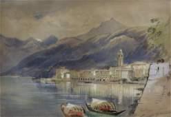 """JAMES HOLLAND. Watercolor """"Bellagio Como"""""""