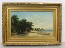F.K. 1875. Signed And Dated Oil On Canvas Beach