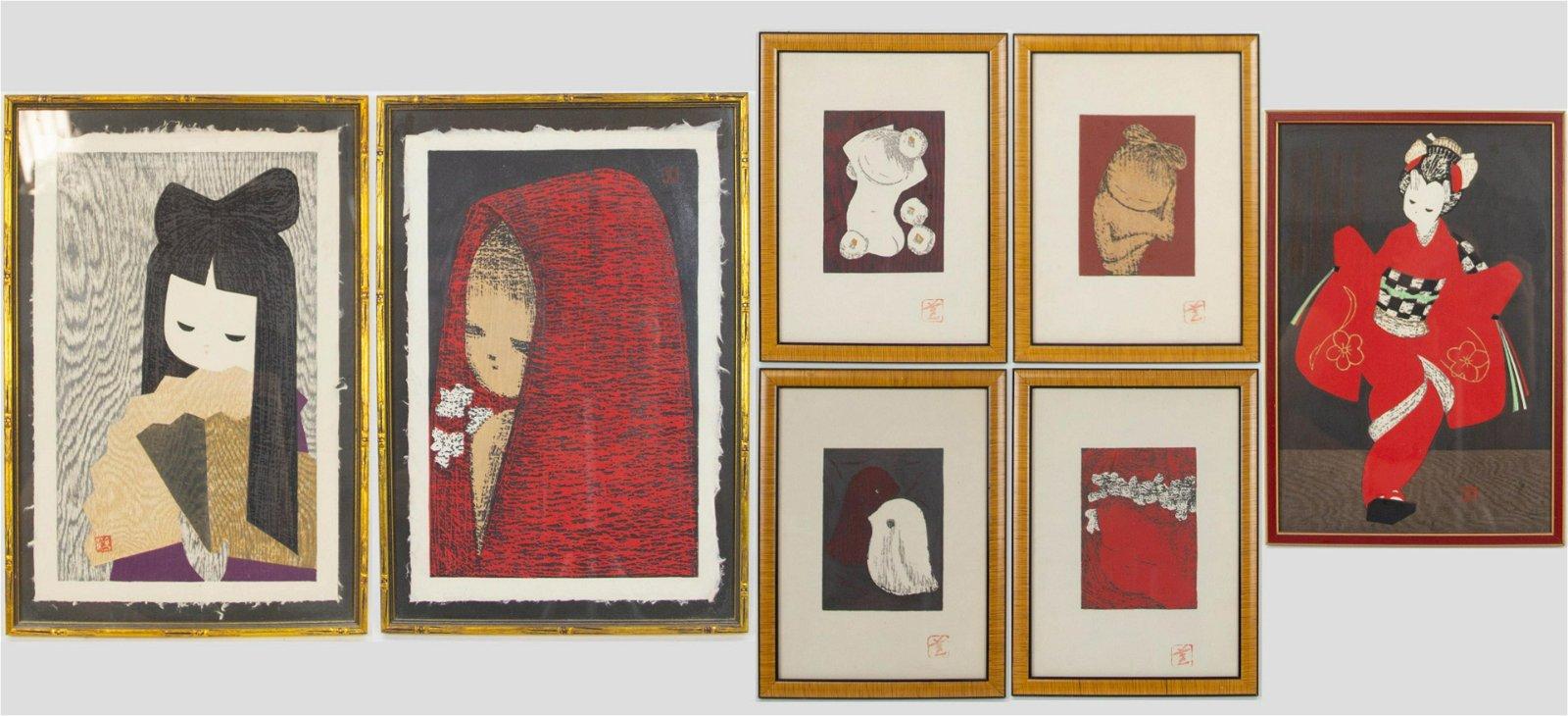 KAWANO, Kaoru. Group of 7 Unsigned Prints.