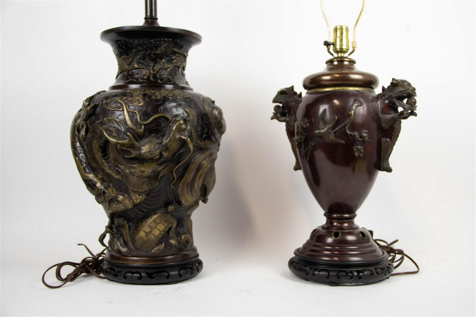 Two Japanese Bronze Lamps.