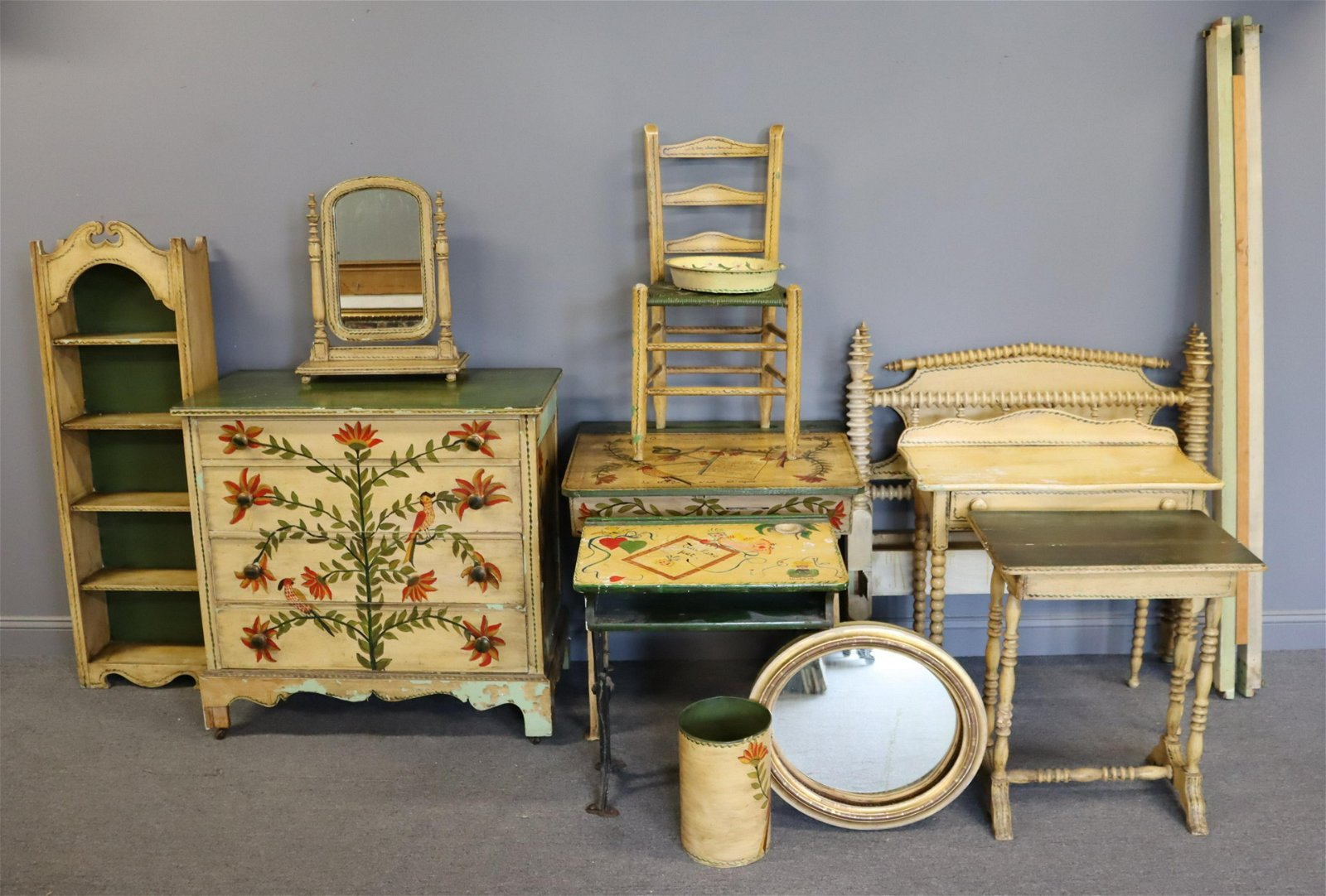 Large Grouping Of Hand Painted Antique American