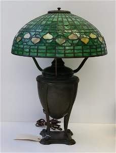 Tiffany Studios Bronze Table Lamp With Acorn Shade