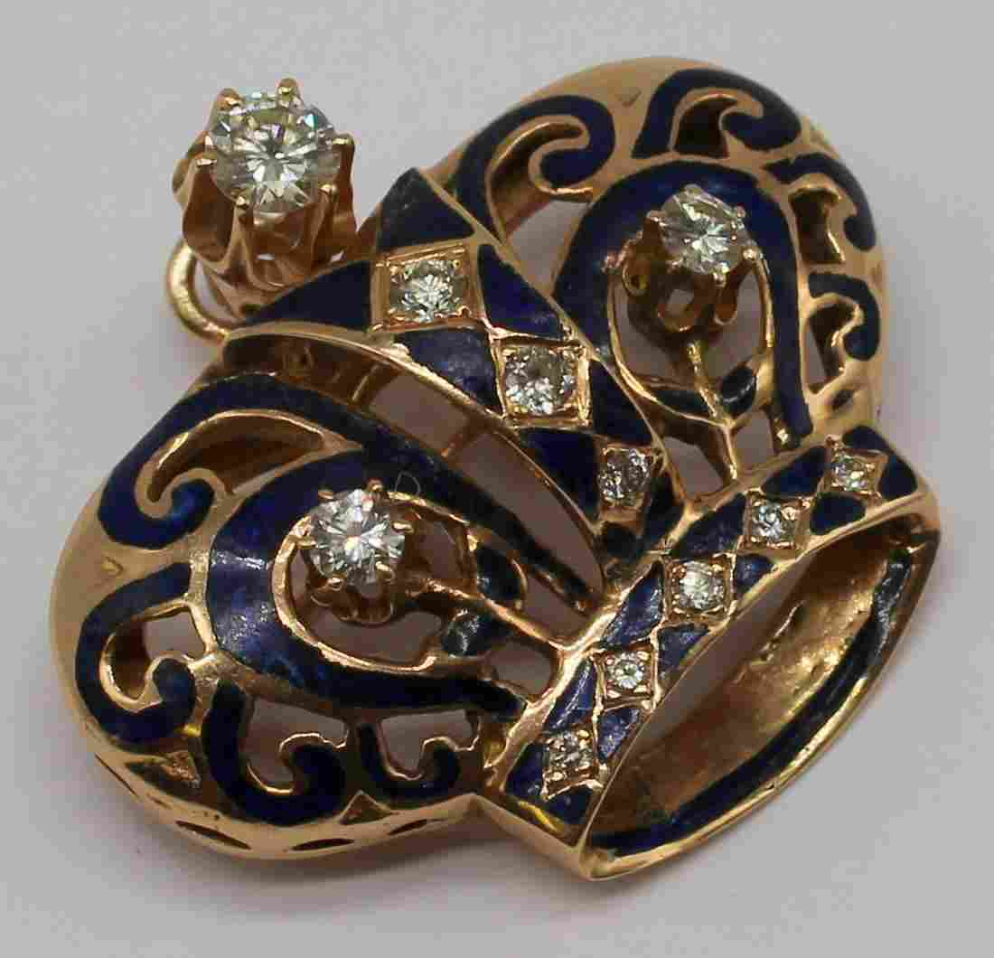 JEWELRY. 14kt Gold, Diamond, and Enamel Pendant or