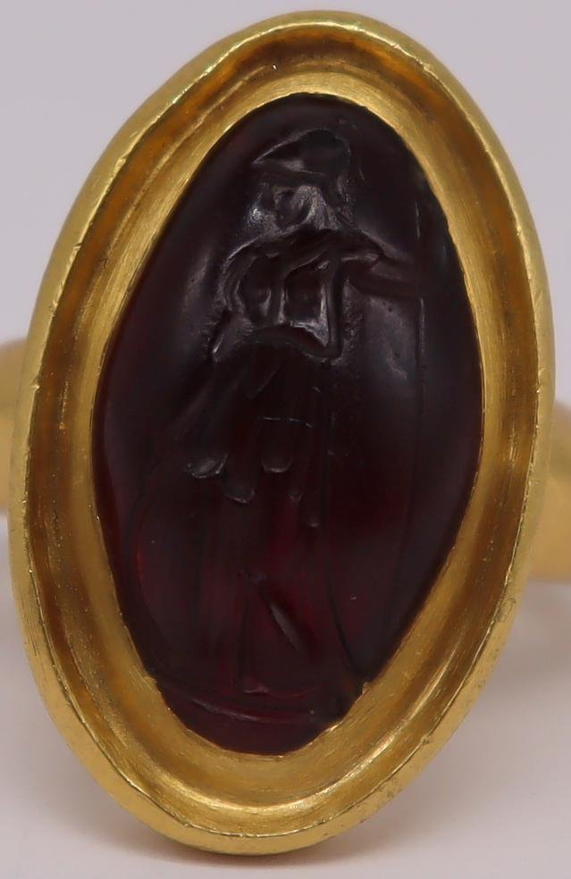 JEWELRY. Roman 20kt Gold and Garnet? Intaglio Ring
