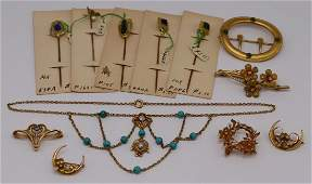 JEWELRY. Assorted Gold Art Nouveau Jewelry.