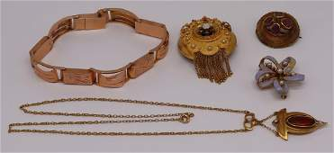 JEWELRY. Ladies Antique Gold Jewelry Grouping.