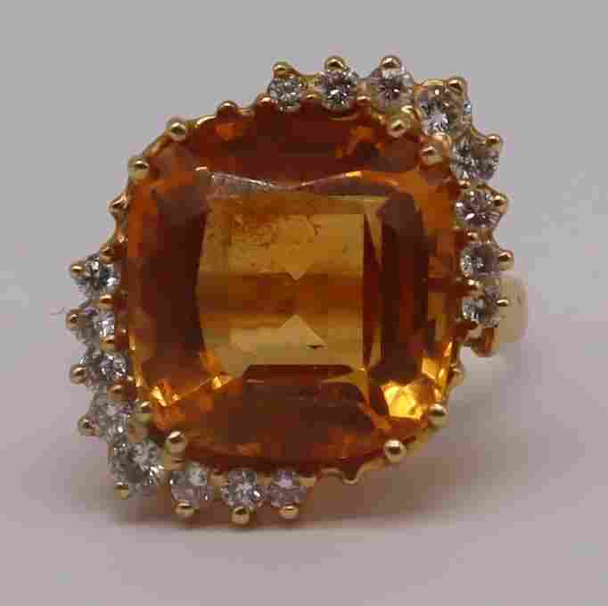 JEWELRY. Signed 14kt Gold, Citrine? and Diamond