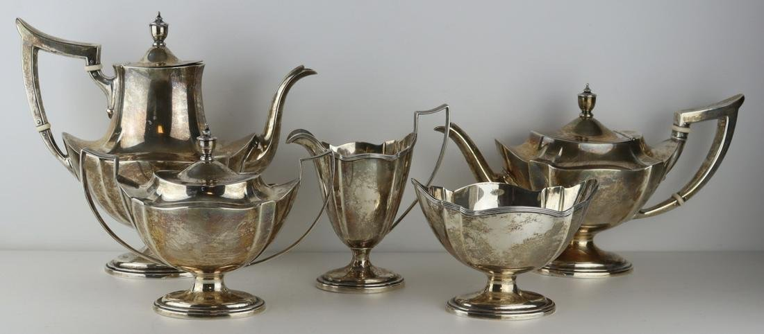 STERLING. 5 Pc. Gorham Plymouth Sterling Tea Set.