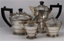 SILVER. 4 Pc English Silver Tiered Tea Service.