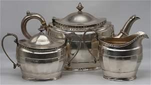 SILVER. English 3 Pc. Silver Tea Service.