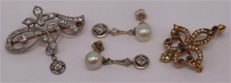 JEWELRY Antique Diamond Jewelry Grouping
