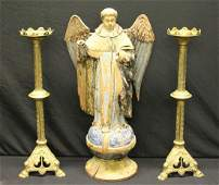 Antique Carved Wood Angel As / Is Together With A